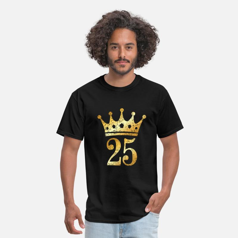 Age T-Shirts - 25th Birthday Crown Number 25 (Ancient Gold) - Men's T-Shirt black
