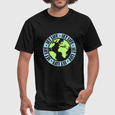 circle pilot earth travel jetset stamp round world - Men's T-Shirt