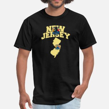 New Jersey American Flag New Jersey Map Flag - Men's T-Shirt