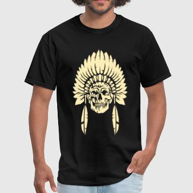 Skull with indian headdress - Men's T-Shirt