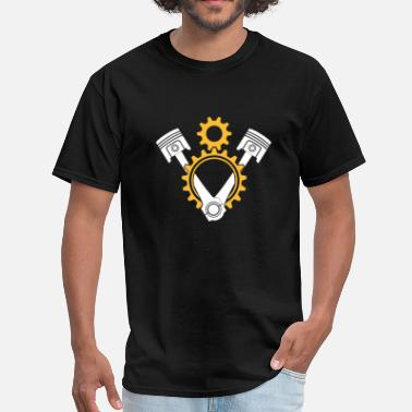 Piston V8 Engine Pistons and Gears - Men's T-Shirt