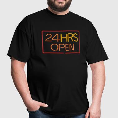 neon sign: 24 HRS - Men's T-Shirt