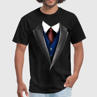 Tuxedo Tie Designs blue vest - Men's T-Shirt