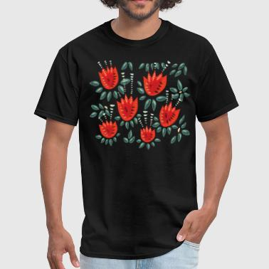 Beautiful Red Abstract Tulip Pattern - Men's T-Shirt
