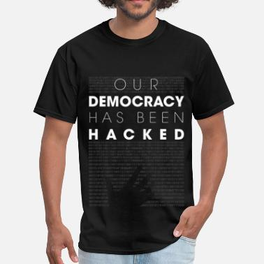 Mr Robot Quotes Fsociety Mr Robot fsociety hacked democracy quotes - Men's T-Shirt