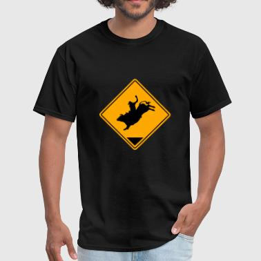 Rodeo - Bullrider Road Sign - Men's T-Shirt