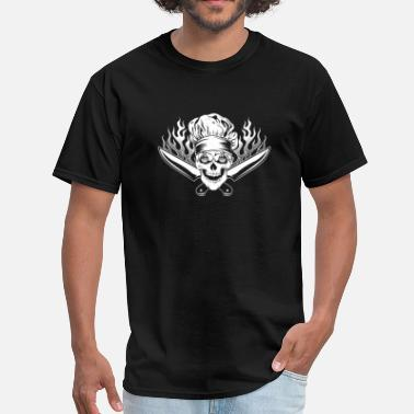 Skull And Chef Knives Chef quotes - Skull with knives T-shirt - Men's T-Shirt
