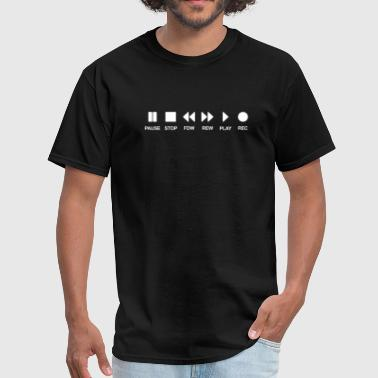 Cassette musik music play stop pause Black - Men's T-Shirt