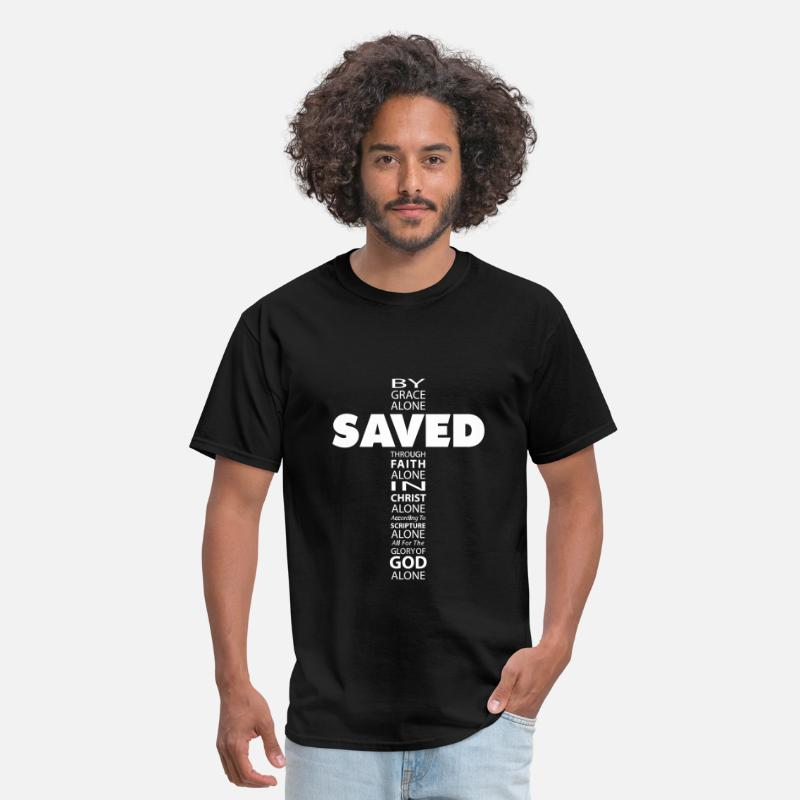Christian T-Shirts - Saved By Grace Cross - Men's T-Shirt black