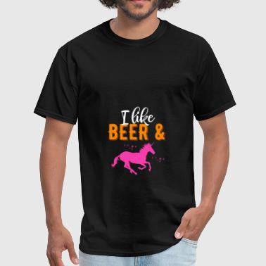 Unicorn Beer I like beer and unicorn - Men's T-Shirt