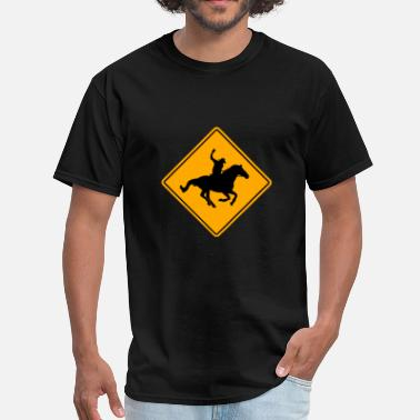 Horse Rider Sign Rider Road Sign - Men's T-Shirt