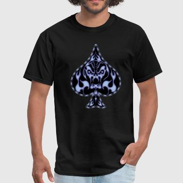 Blue Flaming Spade Skull - Men's T-Shirt