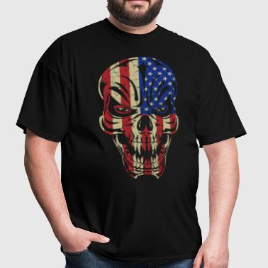 Badass Skull USA Flag - Men's T-Shirt