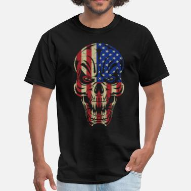 Badass Usa Badass Skull USA Flag - Men's T-Shirt