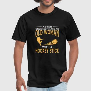 funny An Old Woman With A Ice Hockey Stick - Men's T-Shirt