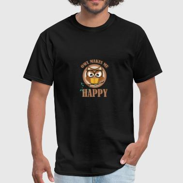 Owl makes me happy - Men's T-Shirt