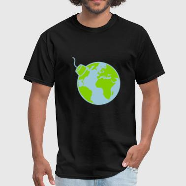 earth planet world round sphere circle text pole b - Men's T-Shirt