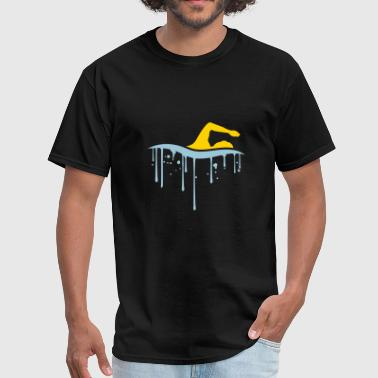 wet drop graffiti spray logo swim swimmer club tea - Men's T-Shirt