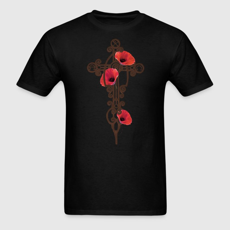Iron Cross Rusty With Red Poppies - Men's T-Shirt