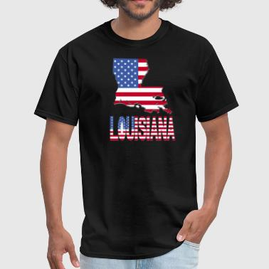 Louisiana Flag Louisiana Map With Flag - Men's T-Shirt