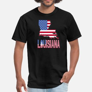 Louisiana State Flag Louisiana Map With Flag - Men's T-Shirt