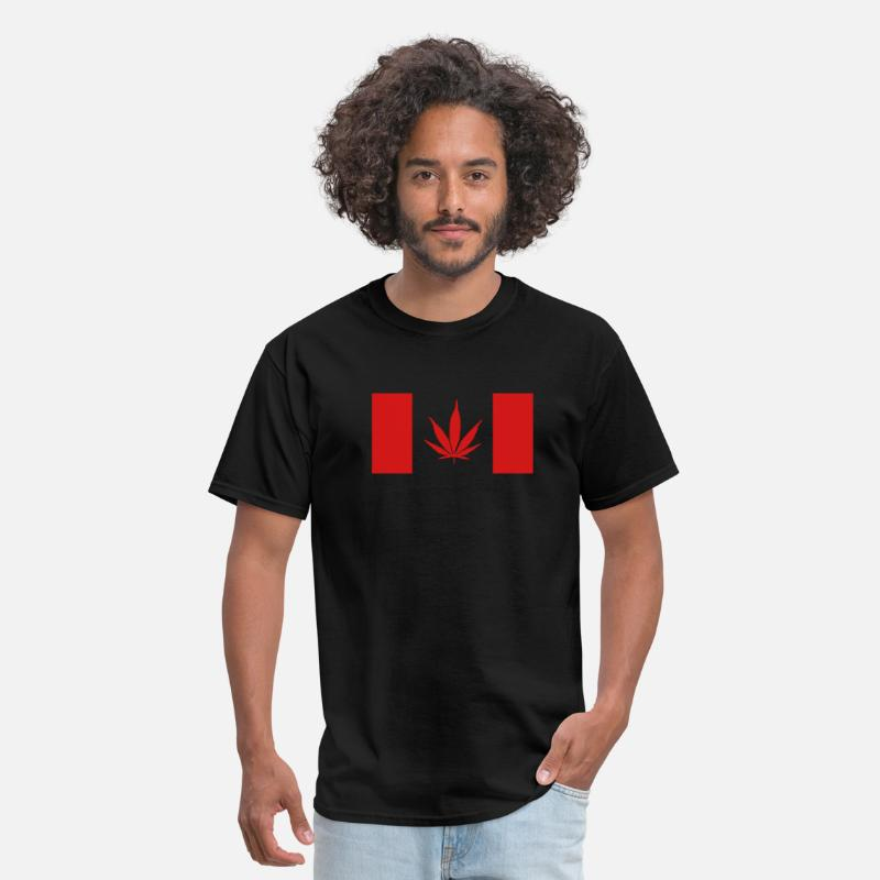 Pot T-Shirts - Canadian Weed Flag - Men's T-Shirt black