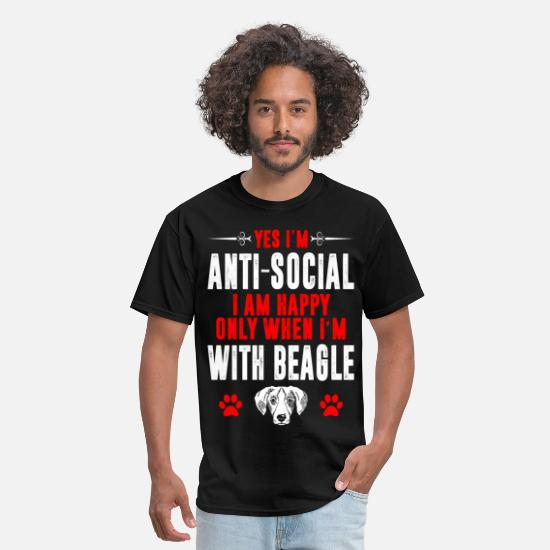 Beagle T-Shirts - Antisocial Happy Only When Im With Beagle Tshirt - Men's T-Shirt black