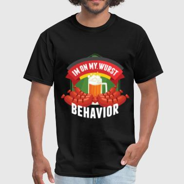Bratwurst I'm On My Wurst Behavior Oktoberfest Germany Gift - Men's T-Shirt