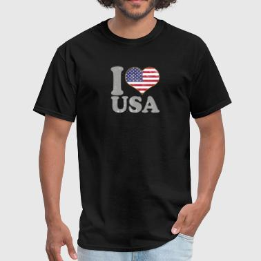 I Love USA July 4th American Flag Pride T Shirt - Men's T-Shirt