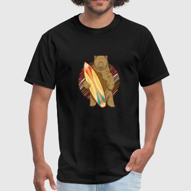 Surfing Bear Funny Design Surfboard Vintage - Men's T-Shirt