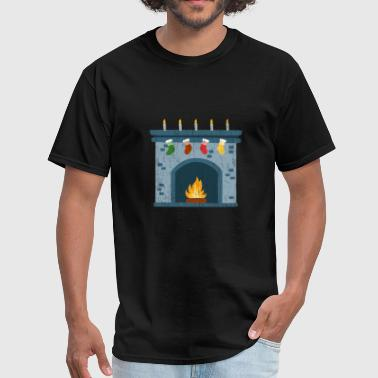 Cozy Christmas Firecplace gift idea kids warm cozy - Men's T-Shirt