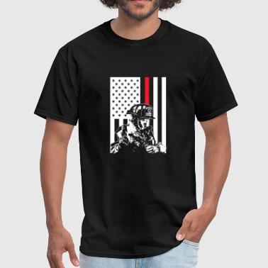 Thin Red Line AMERICAN FIREFIGHTER FLAG RED LINE FUNNY GIFT - Men's T-Shirt