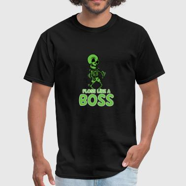 Floss Like A Boss T-Shirt Flossing Green Skeleton - Men's T-Shirt