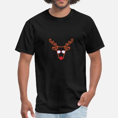 Red Deer Rudolf Red Nosed Reindeer Face Sunglasses - Men's T-Shirt