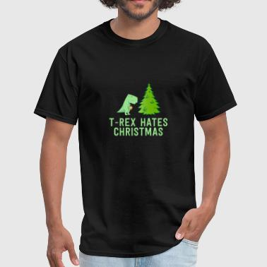 Hate T-Rex Hates Christmas Funny Xmas Hater Holiday Pun - Men's T-Shirt