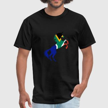 Unicorn South Africa Flag TShirt Magical Unicorn - Men's T-Shirt