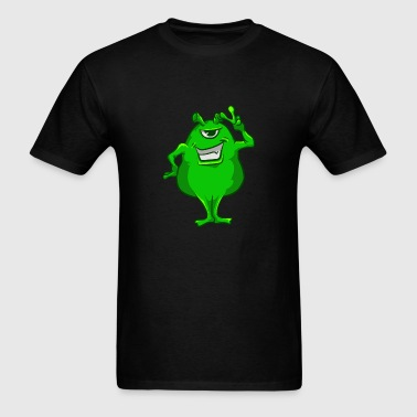 Green Alien Hand Peace Sign T-Shirt Cute One-Eyed - Men's T-Shirt