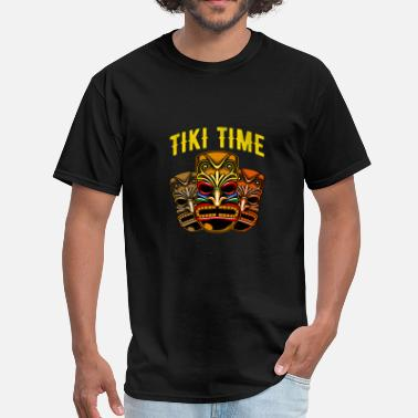 Tiki Bar Tiki Time T-Shirt Tiki Mask Luau Vacation Hawaiian - Men's T-Shirt