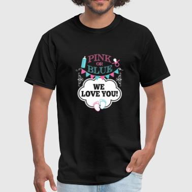 We love you pink or blue gender reveal co - Men's T-Shirt