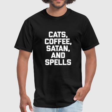 Cat - cats, coffee, satan, - Men's T-Shirt