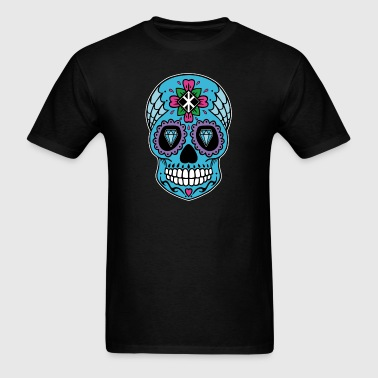 Sugar Skull, Day of the Dead (with White border) - Men's T-Shirt