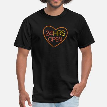 Partner neon sign: 24 hrs open heart - Men's T-Shirt