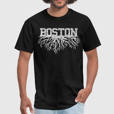 Distressed Style Boston Raised Roots Rooted Shirts - Men's T-Shirt