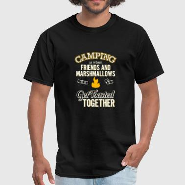 Camping - camping friends and marshmallows toast - Men's T-Shirt
