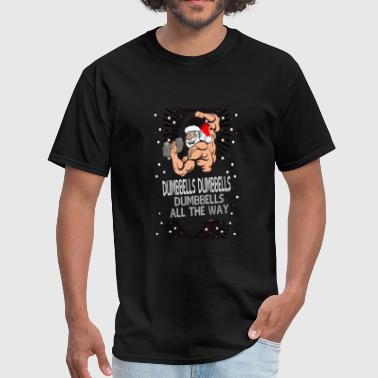 Lifts Funny Body Building Santa Claus with dumbbells - Men's T-Shirt