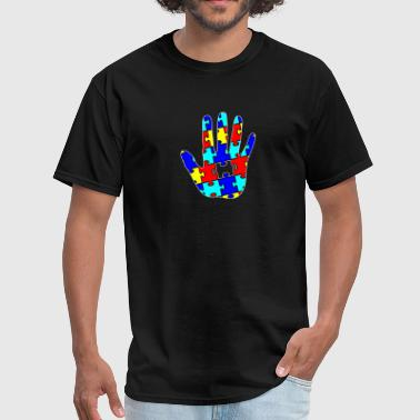 Autism Puzzle Piece Hand - Men's T-Shirt