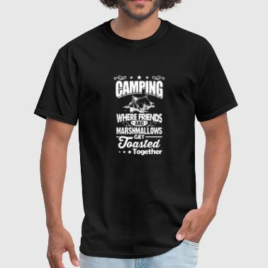 Camping - camping where freinds and marshmallows - Men's T-Shirt