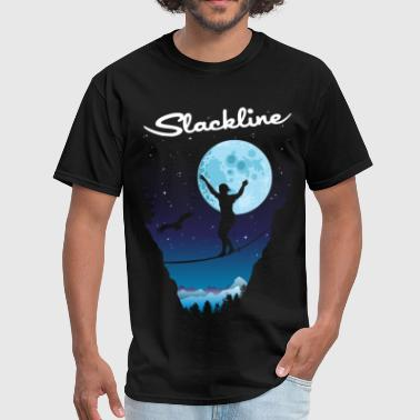 Slack line by night - Men's T-Shirt