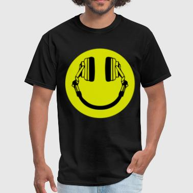 Weed Smiley Headphone Smiley Acid House Cans MUSIC RAVE WEED D - Men's T-Shirt