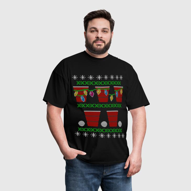 Beer Pong Ugly Christmas Sweater - Men's T-Shirt